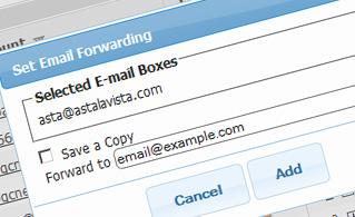Hepsia Email Manager Forwarding